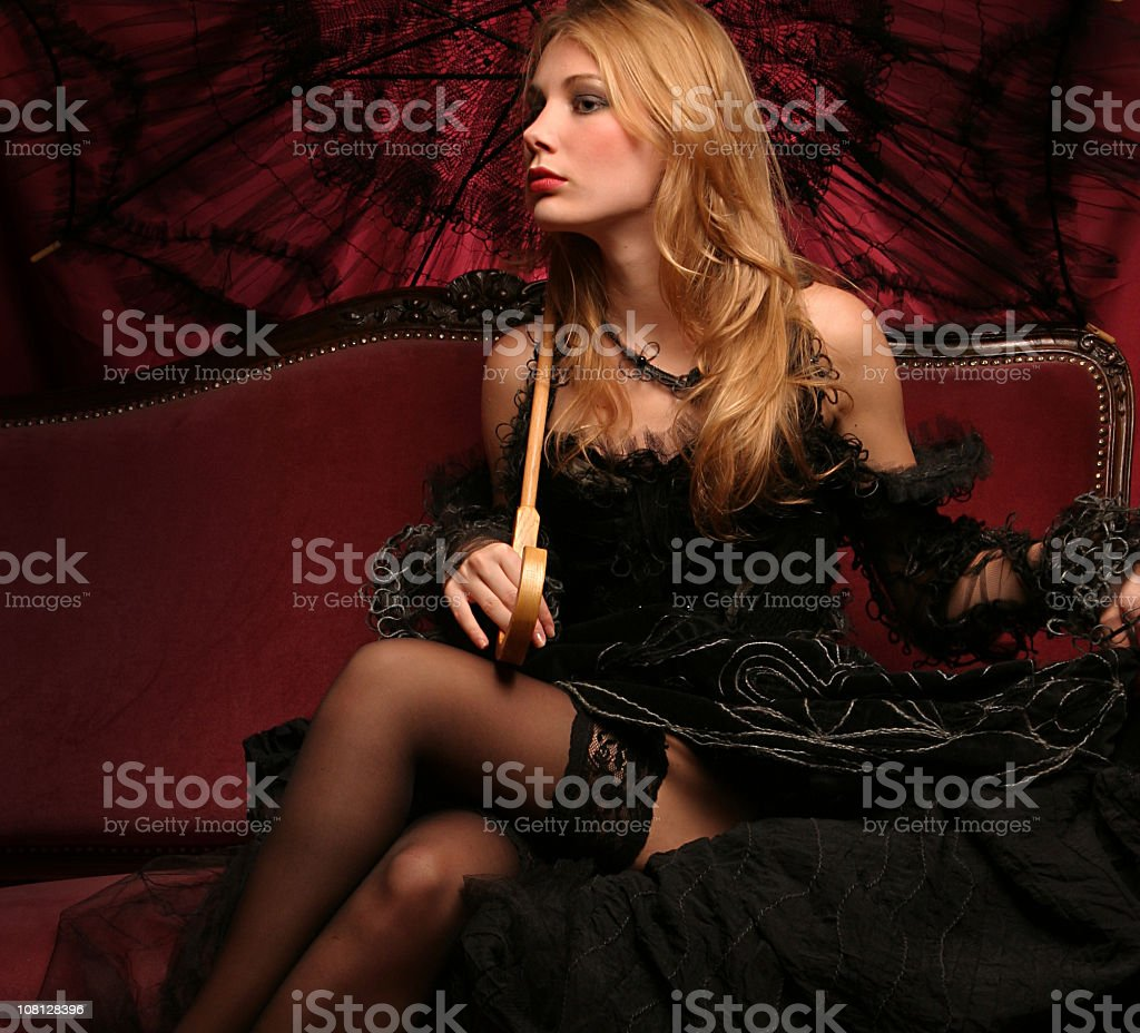 Young Woman in a Black Gothic Dress royalty-free stock photo