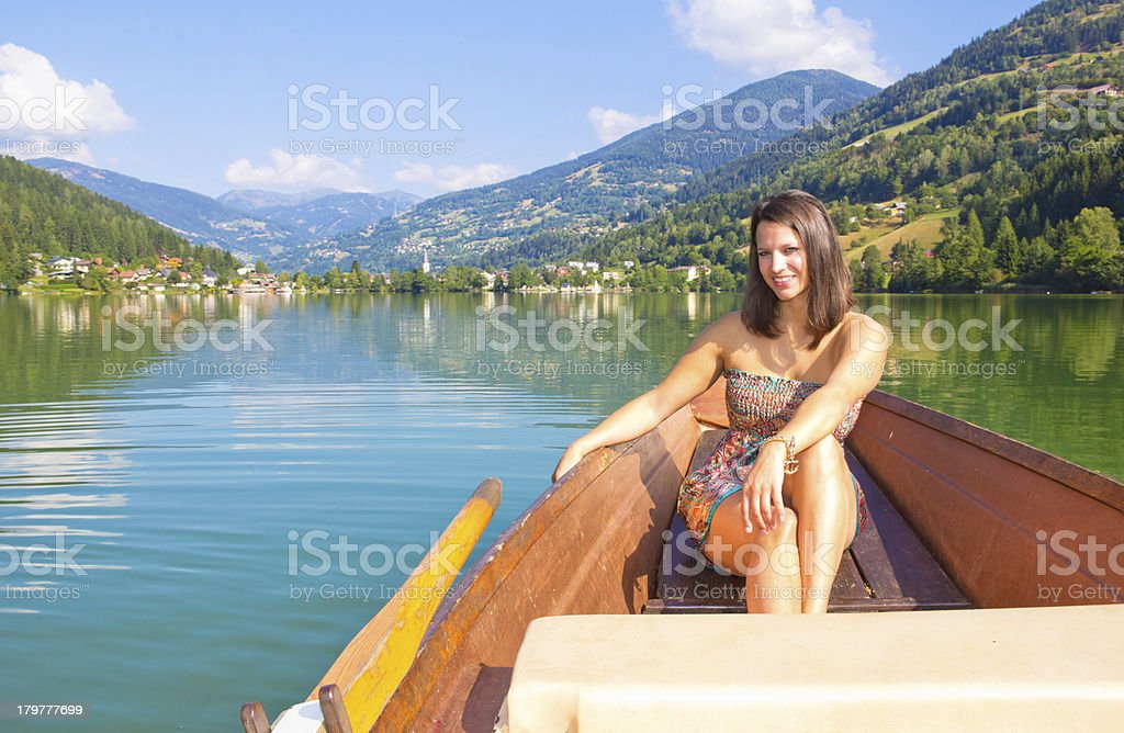 Young Woman In A Boat On The Lake royalty-free stock photo