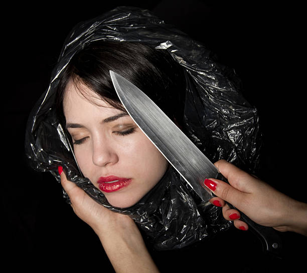 Young woman in a body bag stock photo