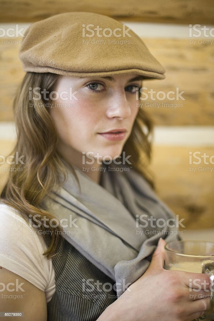 A young woman in a coffee shop. royalty-free stock photo