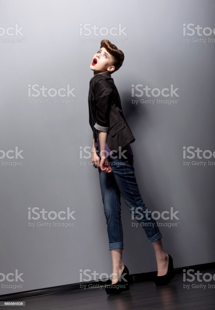 A young woman in a full-length. stock photo