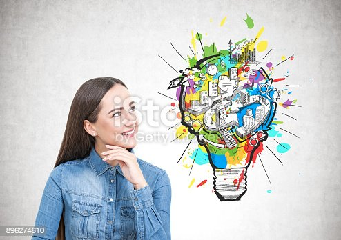 istock Young woman in a jeans shirt, business idea 896274610
