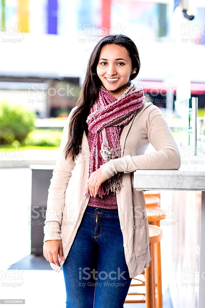 Young woman in a mall stock photo