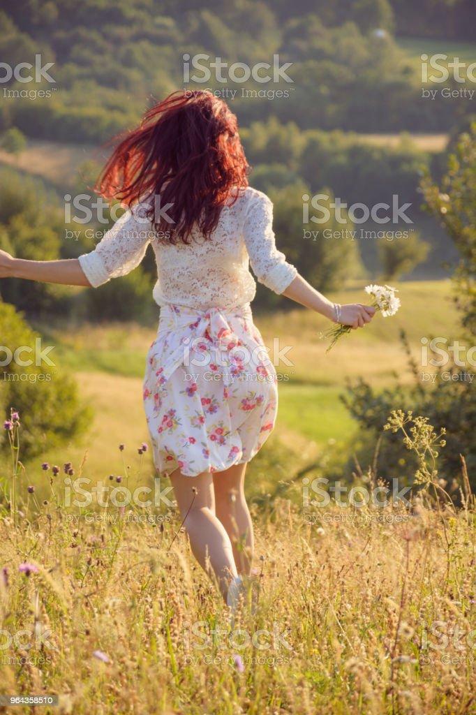 Jovem mulher em um Prado - Foto de stock de Adulto royalty-free