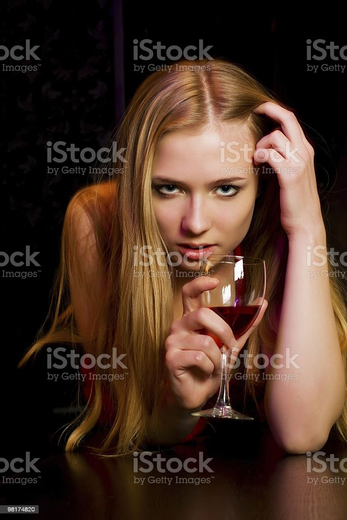 Young woman in a night bar royalty-free stock photo