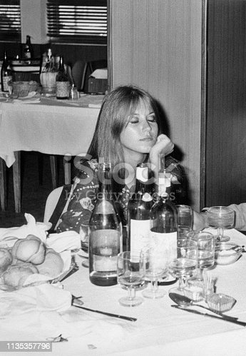 Young woman in a restaurant in 1968