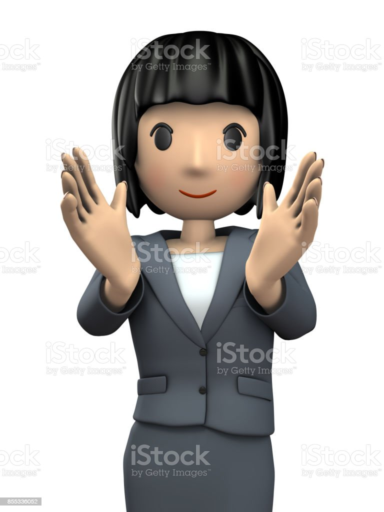 A young woman in a suit that encourages you. stock photo
