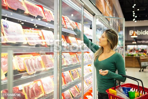 Young woman in a supermarket shopping