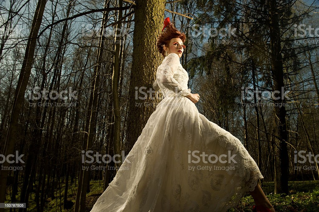 Young Woman in a Vintage Wedding Dress royalty-free stock photo