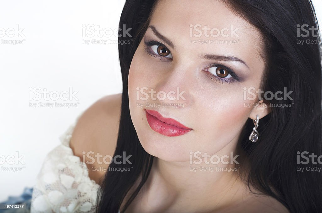 Young woman in a white blouse. stock photo