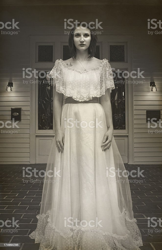 Young Woman in Aged Photo royalty-free stock photo