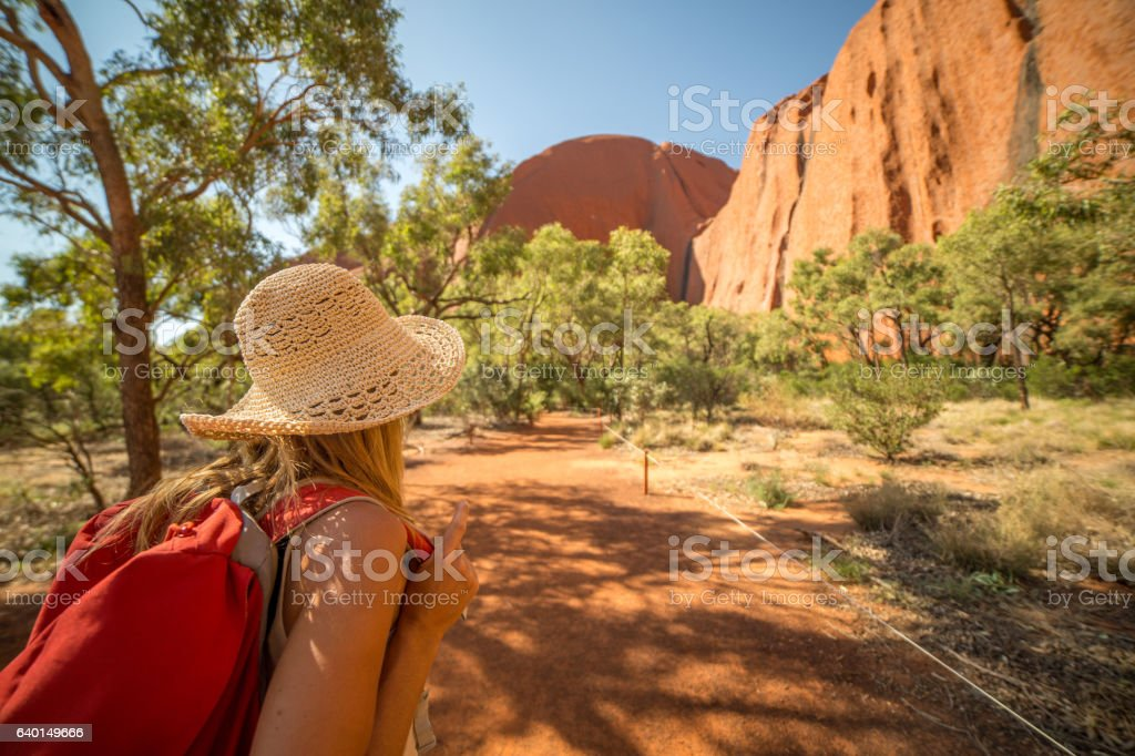 Young woman in Australia hiking stock photo