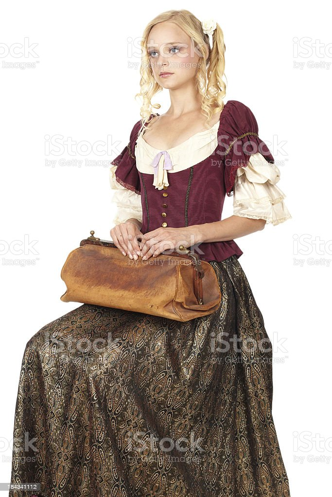 Young woman in baroque clothes royalty-free stock photo
