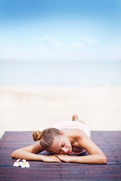 Young woman in beach spa stock photo