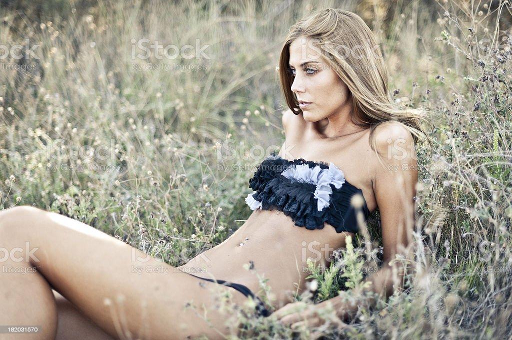 Young woman in bikini royalty-free stock photo