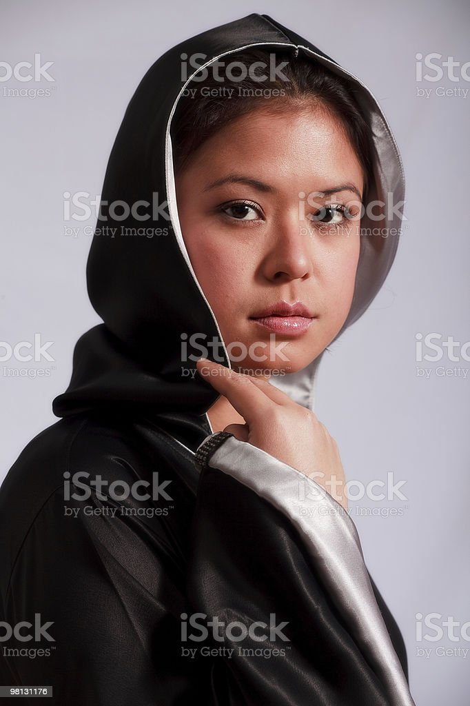 Young Woman in Black Abaya royalty-free stock photo