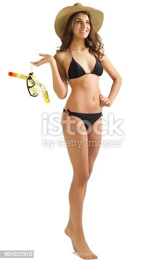 Young woman in black bikini isolated