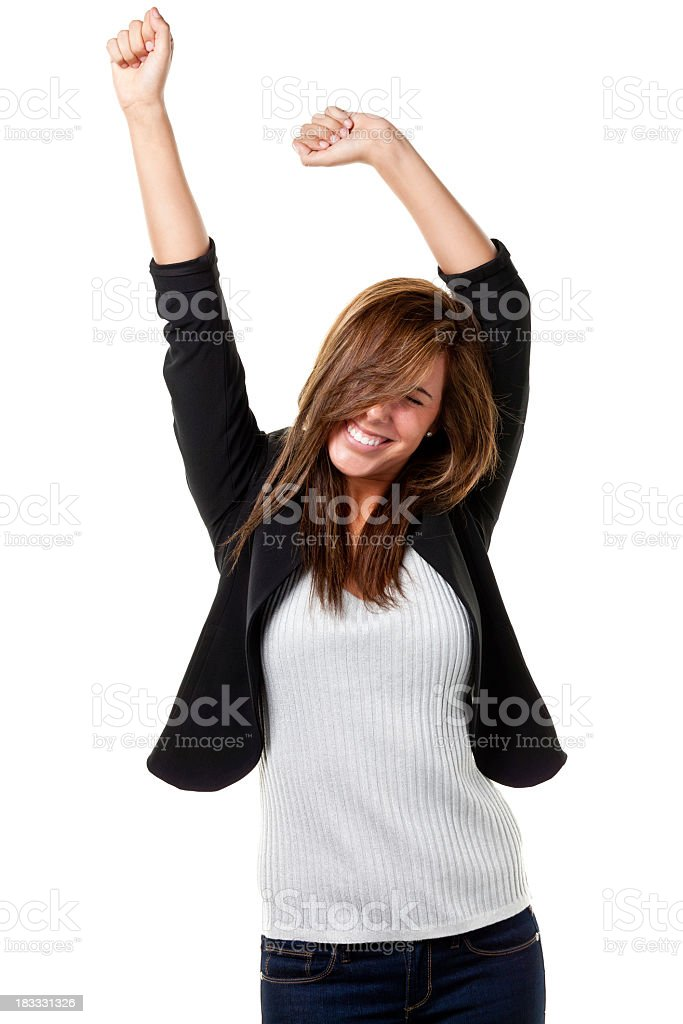 Young woman in black jacket and white shirt looking happy stock photo