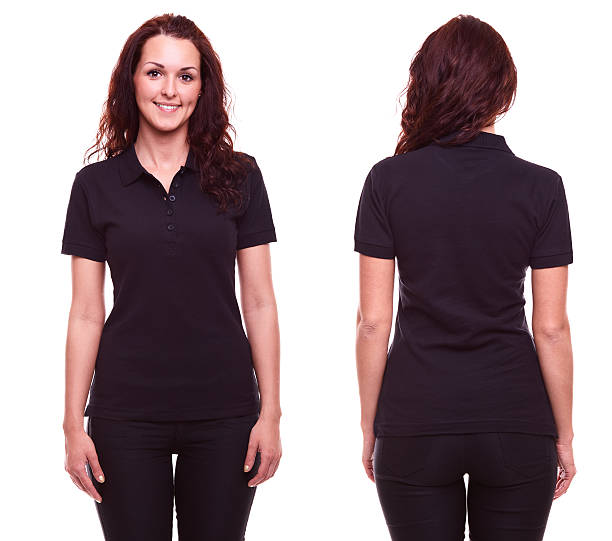 Young woman in black polo shirt stock photo