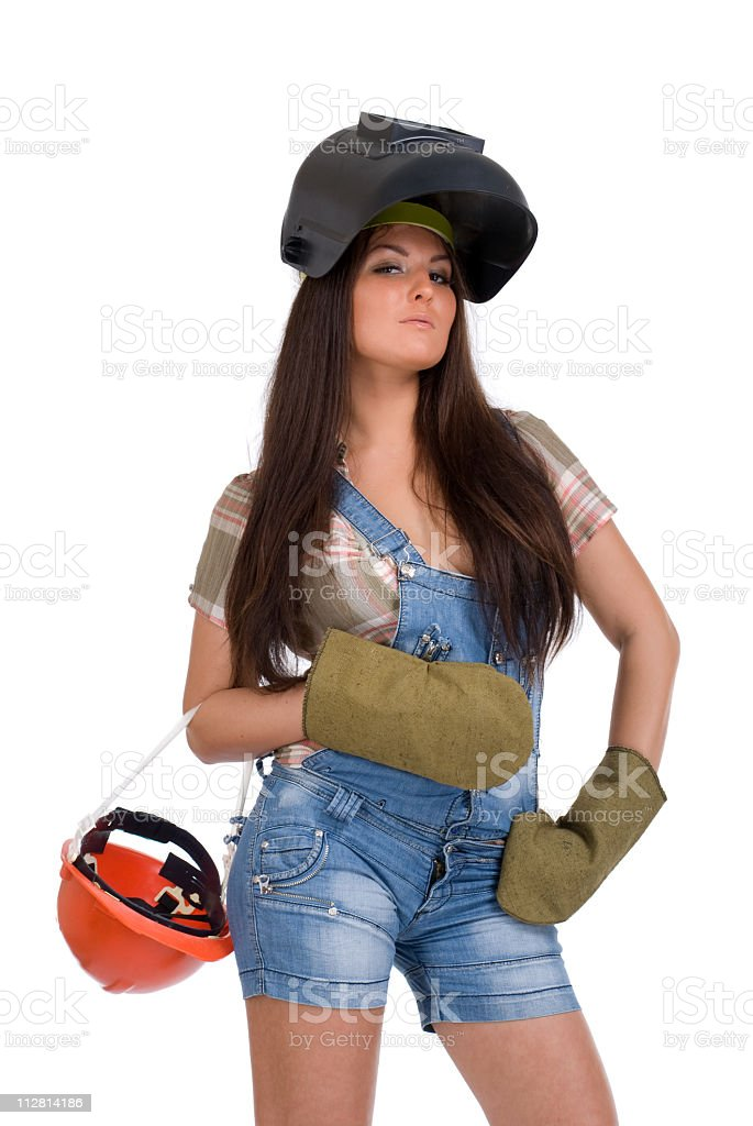 Young woman in black welder mask and protectiv gloves royalty-free stock photo