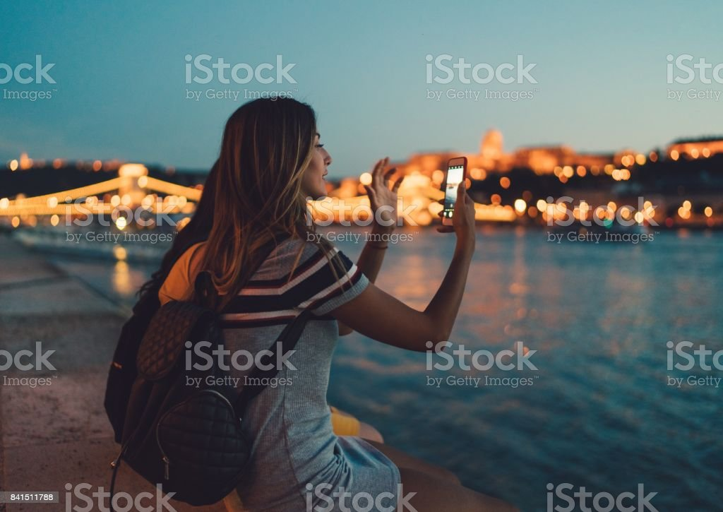 Young woman in Budapest stock photo