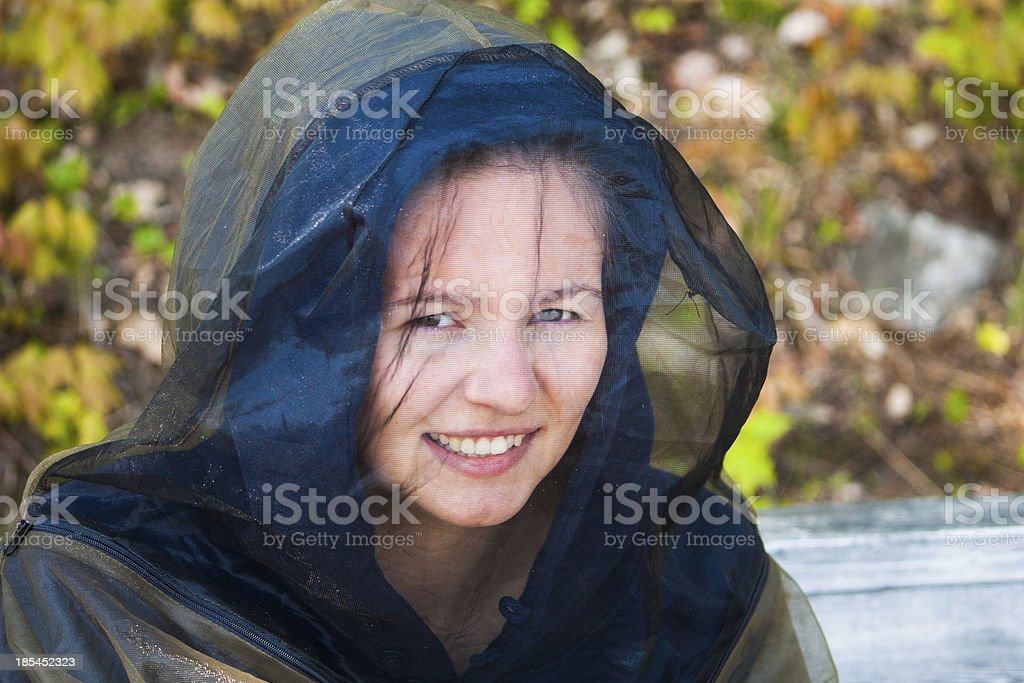 young woman in bug gear royalty-free stock photo