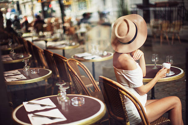 Young Woman in Cafe stock photo