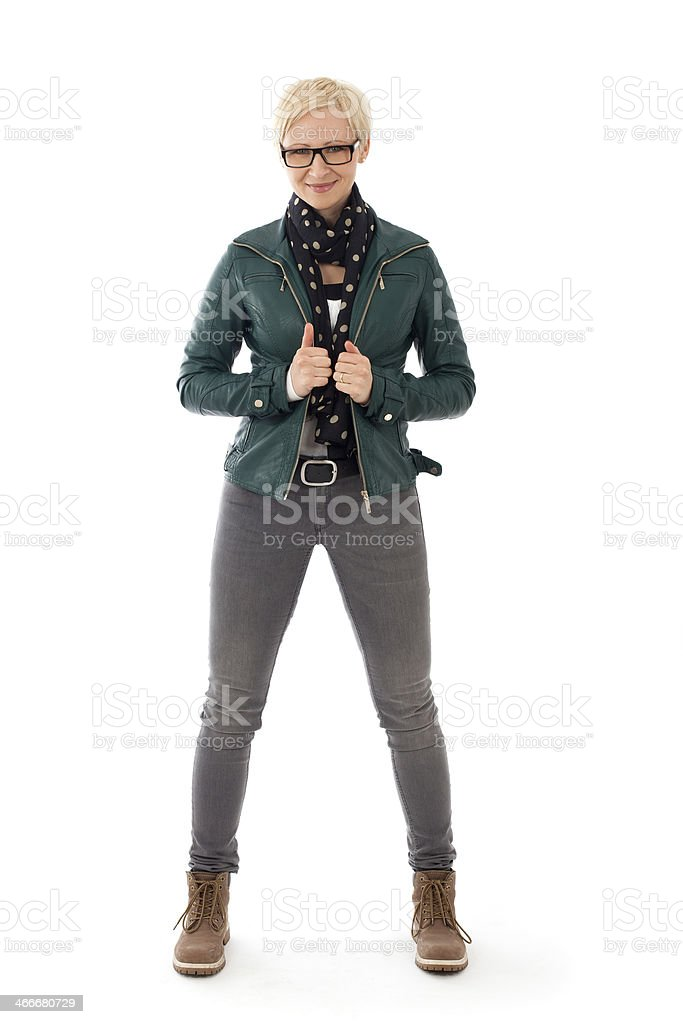 young woman  in casual outfit stock photo