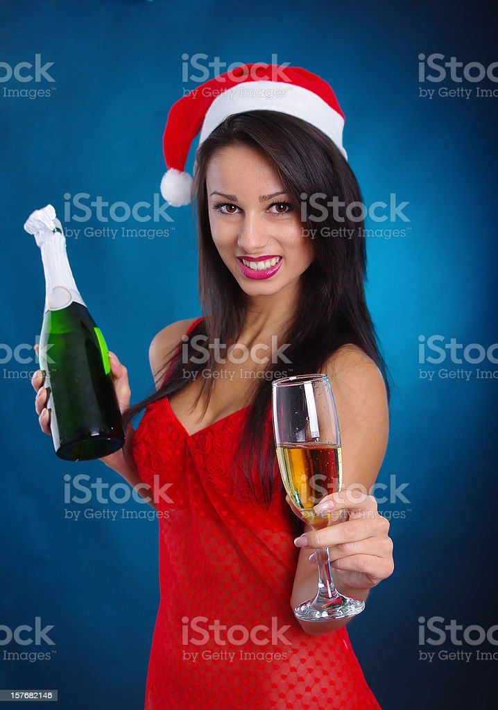 Young woman in christmas dress royalty-free stock photo