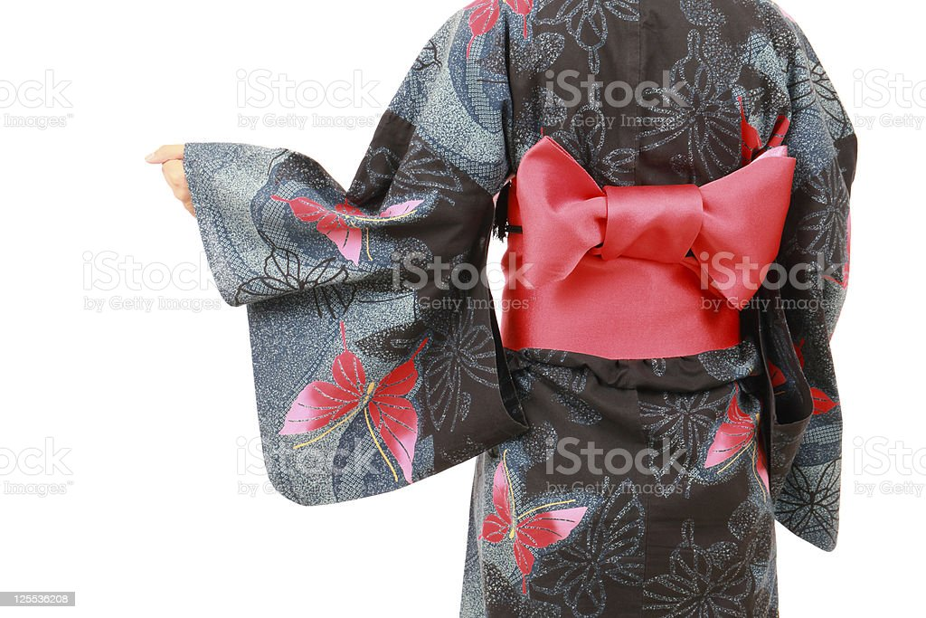 Young woman in clothes of kimono stock photo