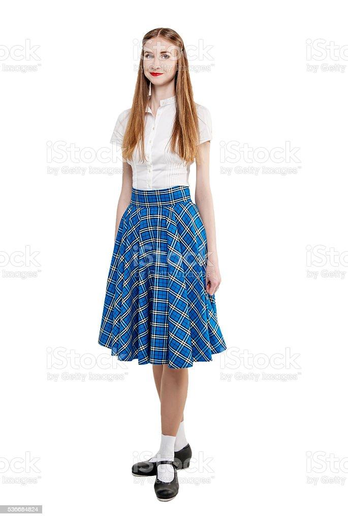 Junge Frau Im Kleidung Fur Schottische Tanze Stockfoto Und Mehr Bilder Von Blau Istock