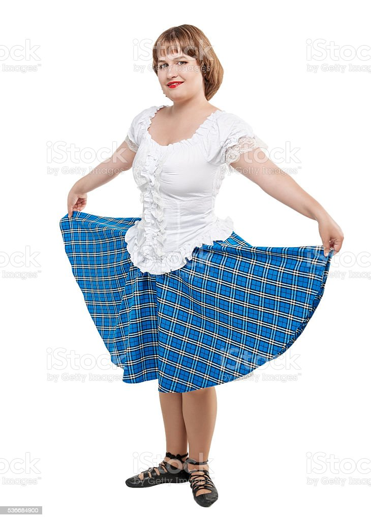 Young Woman In Clothing For Scottish Dance Stock Photo - Download Image Now