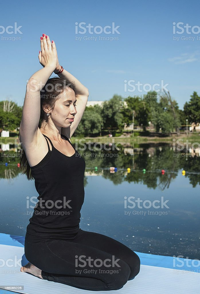 Young woman in concentration royalty-free stock photo