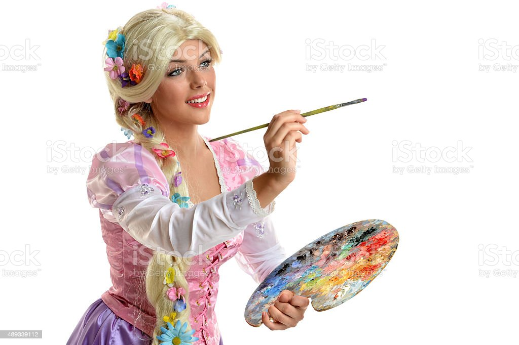 Young Woman In Costume Painting stock photo