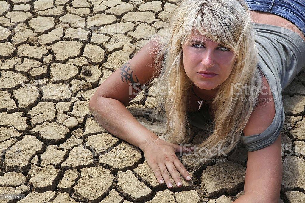 Female on desert floor