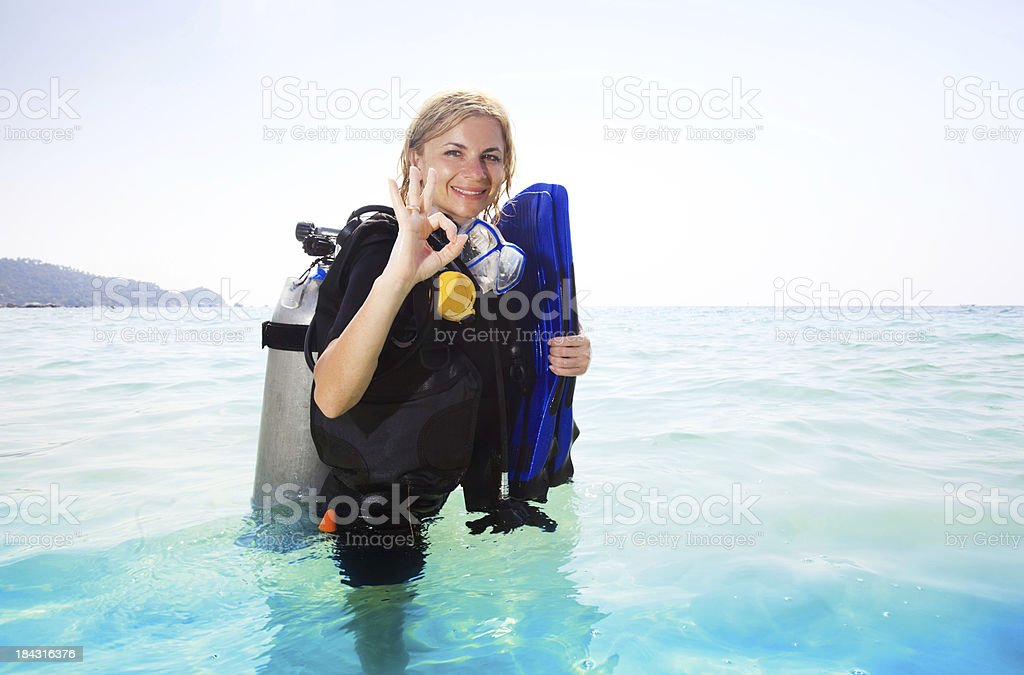 Young woman in diving equipment. royalty-free stock photo