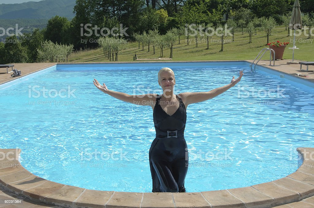 b6f343cd3aa09 young woman in dress comes wet from the pool royalty-free stock photo