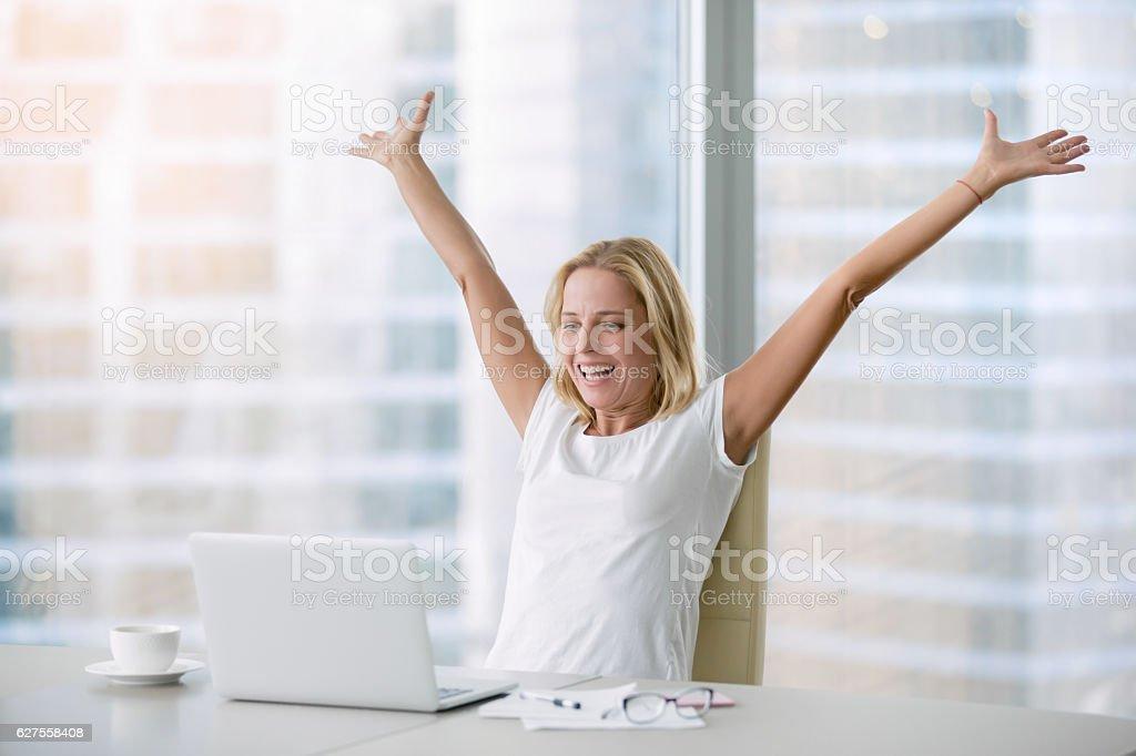 Young woman in euphoria stock photo