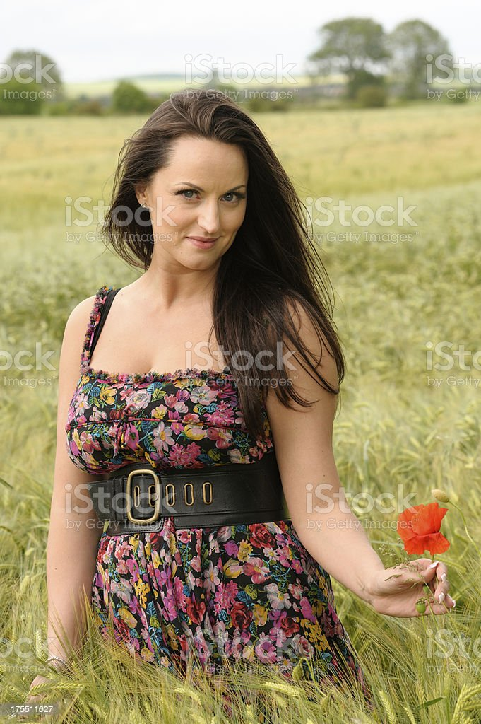 Young Woman in Field of Wheat royalty-free stock photo