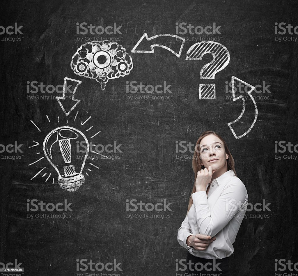 A young woman in front of a chalkboard stock photo