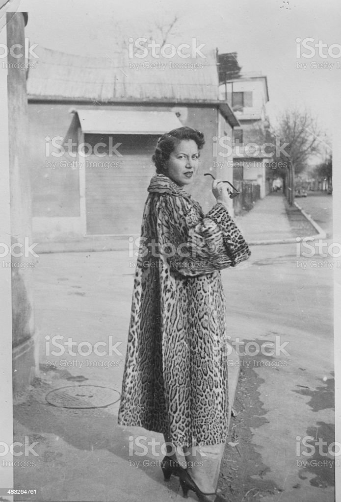 Young Woman in Fur from the Fifties.Black And White stock photo