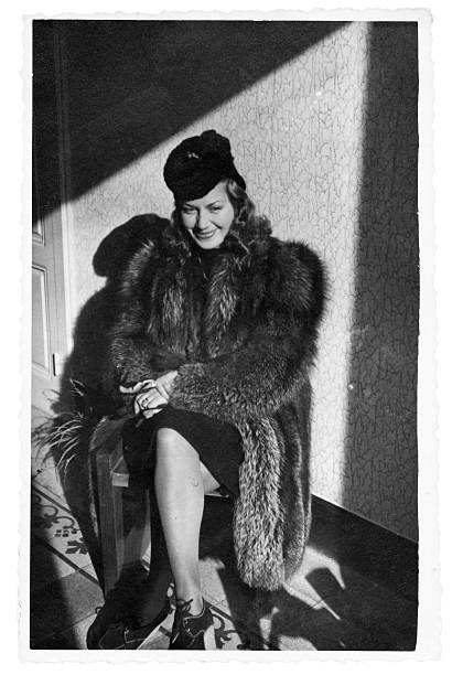 Young Woman in Fur,1940.Black And White. stock photo