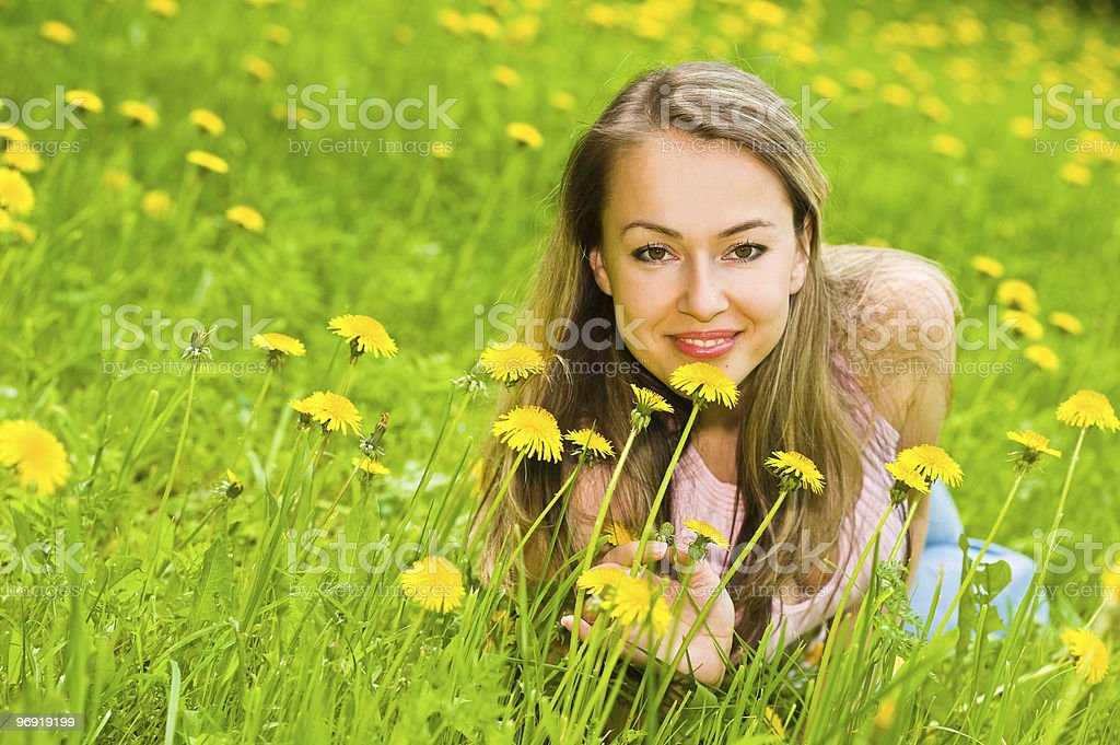 Young Woman in Grass royalty-free stock photo