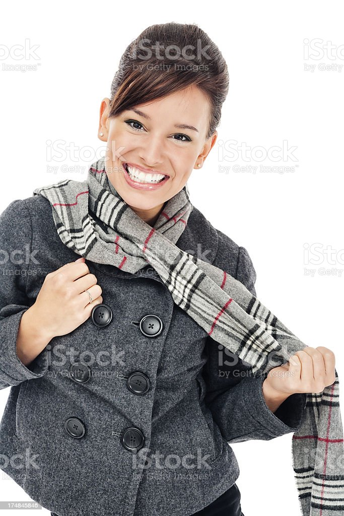 Young Woman in Gray Jacket and Scarf royalty-free stock photo