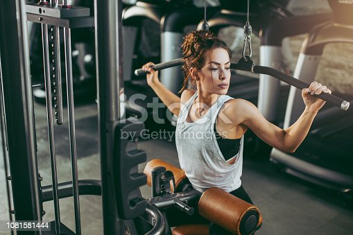 619088796 istock photo Young woman in gym 1081581444