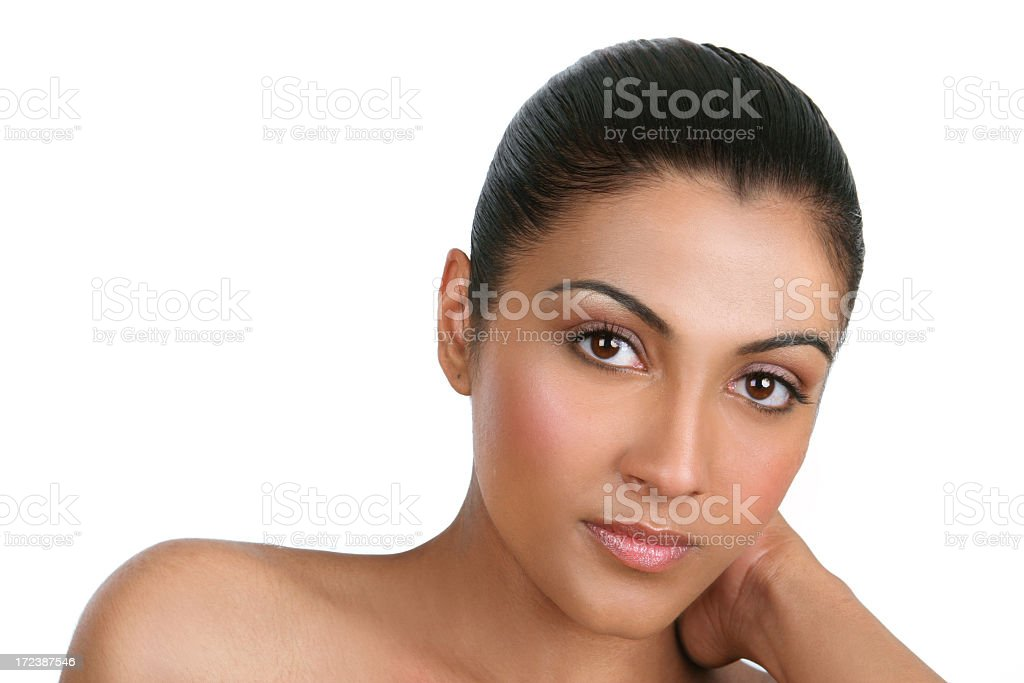 Young woman in heavy natural makeup against white royalty-free stock photo