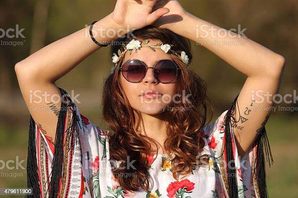Young Woman In Hippie Style Stock Photo - Download Image Now