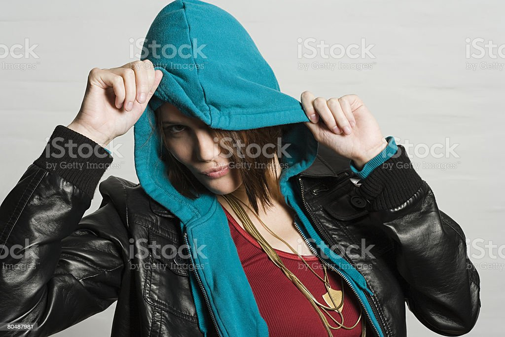 Young woman in hooded top 免版稅 stock photo