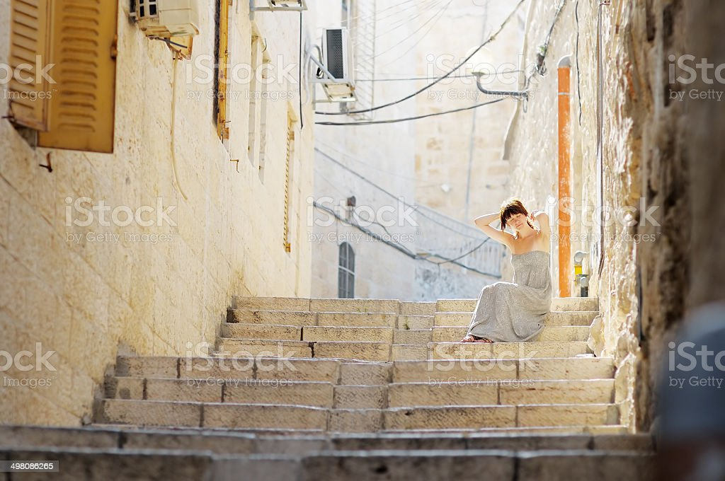 Young woman in Jerusalem, Israel stock photo