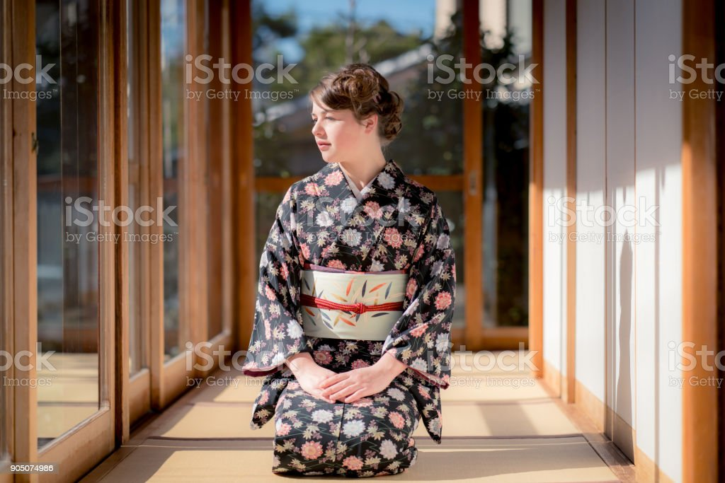 Young woman in Kamakura stock photo